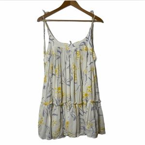NEW Free People White Floral Layered Mini Dress
